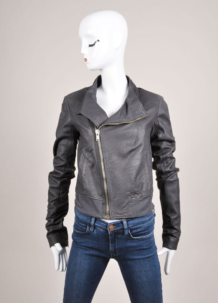 Rick Owens Grey Slanted Zip Leather Bomber Jacket Frontview