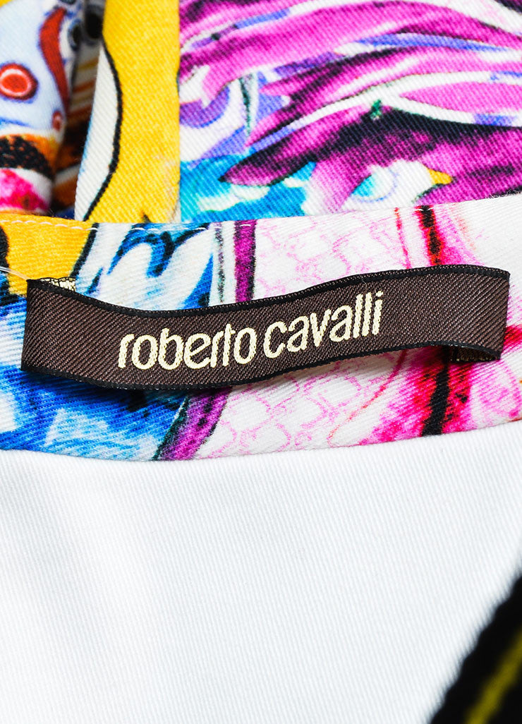 Multicolor Printed Roberto Cavalli Strapless Cocktail Dress Brand