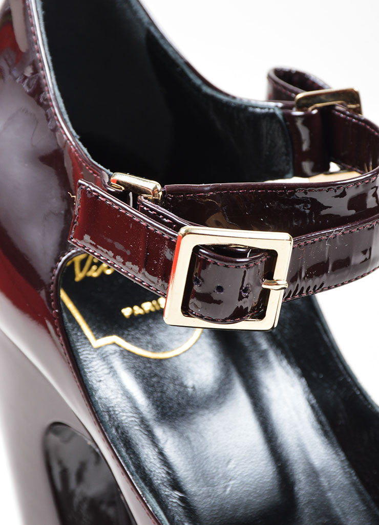Burgundy Roger Vivier Patent Leather Mary Jane Heels Detail