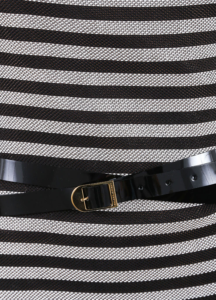 "Roland Mouret Black and White Cotton Striped ""Layan"" Belted Dress Detail"