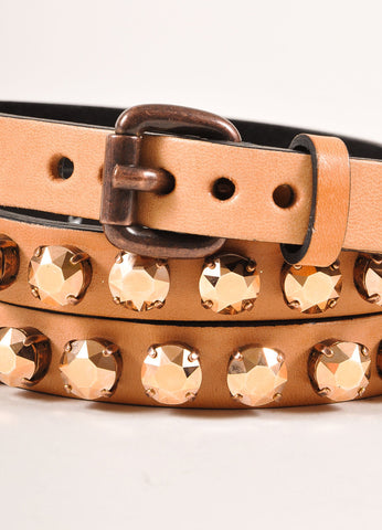 Ronald Pineau New With Tags Nude Leather Rhinestone Studded Skinny Belt Detail