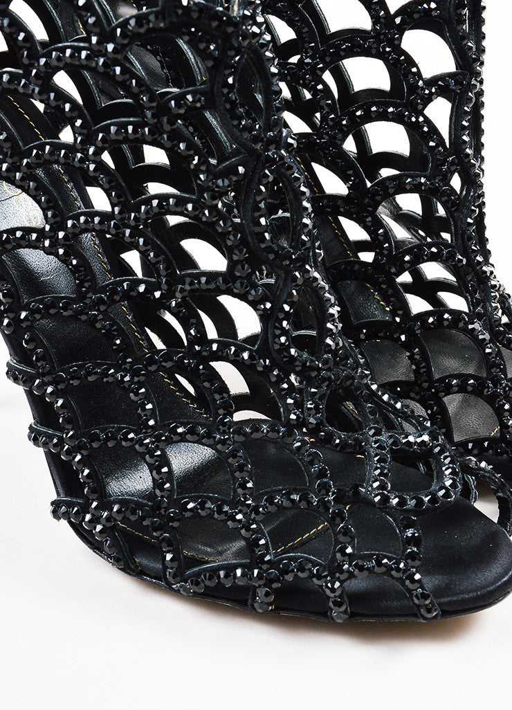 "Sergio Rossi ""Black Strass"" Suede and Crystal Scalloped Peep Toe Booties Detail"