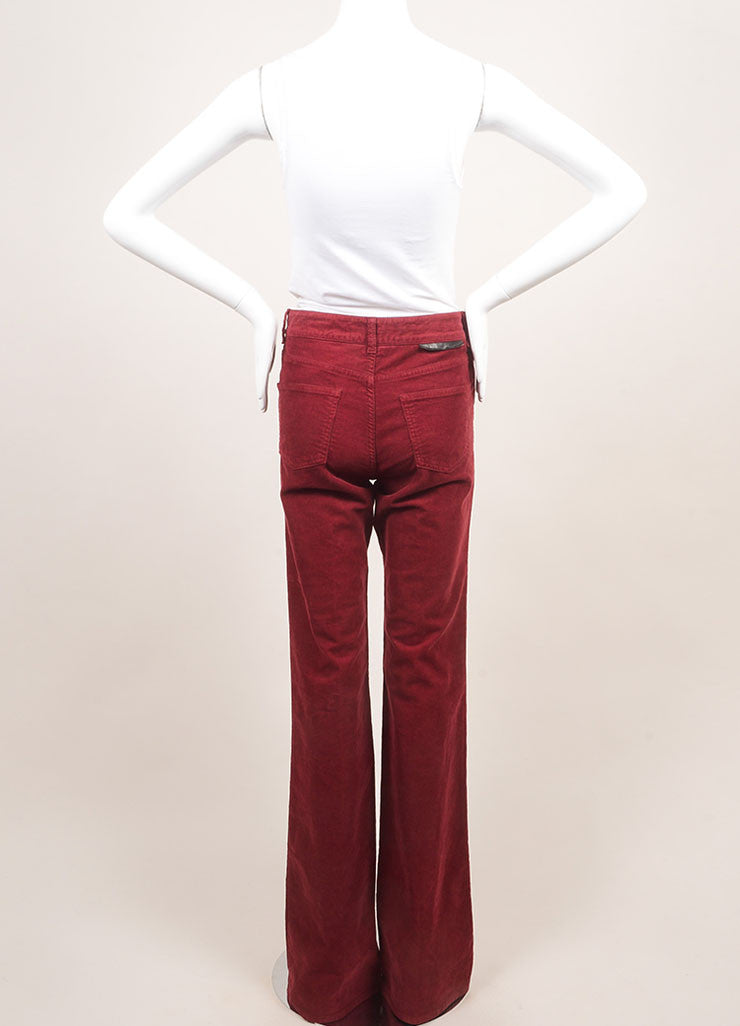 Stella McCartney New With Tags Red Cotton Corduroy Wide Leg Flare Pants Backview
