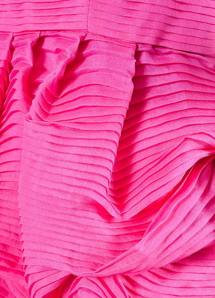 Pink Silk Stella McCartney Pleated Strapless Bubble Dress Detail