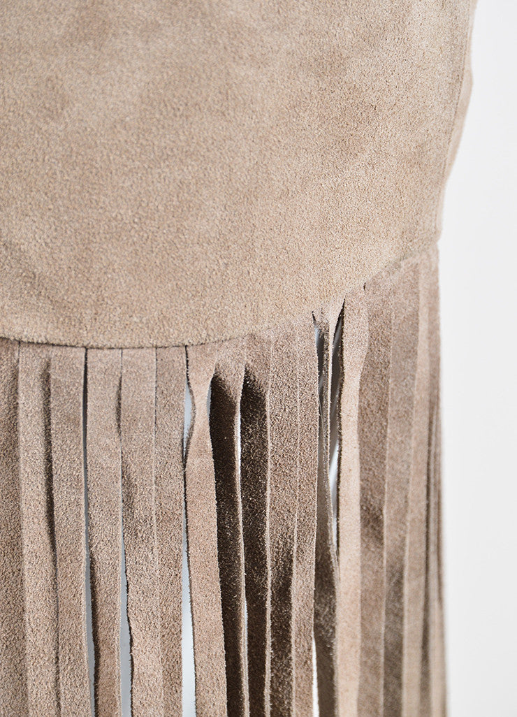 The Perfext Taupe Suede Fringe Mini Skirt Detail