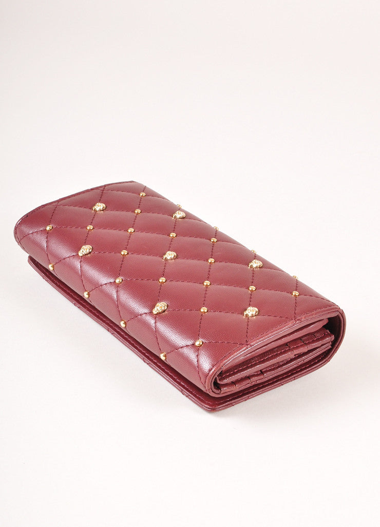 Thomas Wylde New With Tags Burgundy Leather Gold Toned Skull Studded Snap Wallet Sideview