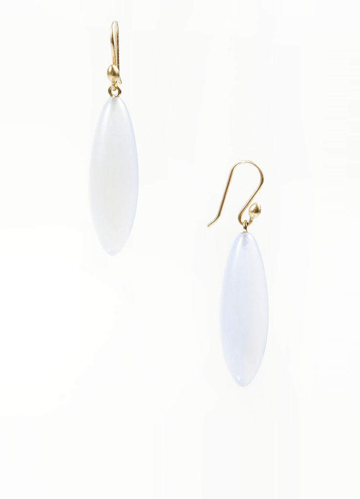 "14K Gold and Blue Chalcedony Gemstone Ted Muehling ""Long Berry"" Drop Earrings Backview"