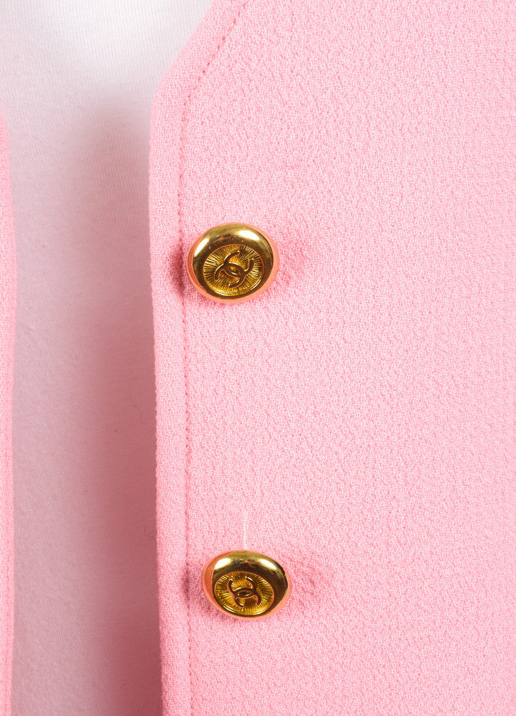 "Chanel Pink ""CC"" Button Crepe Wool Collarless Jacket Detail"