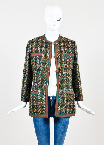 Brown and Teal Chanel Tweed Ribbon Trim Jacket Frontview