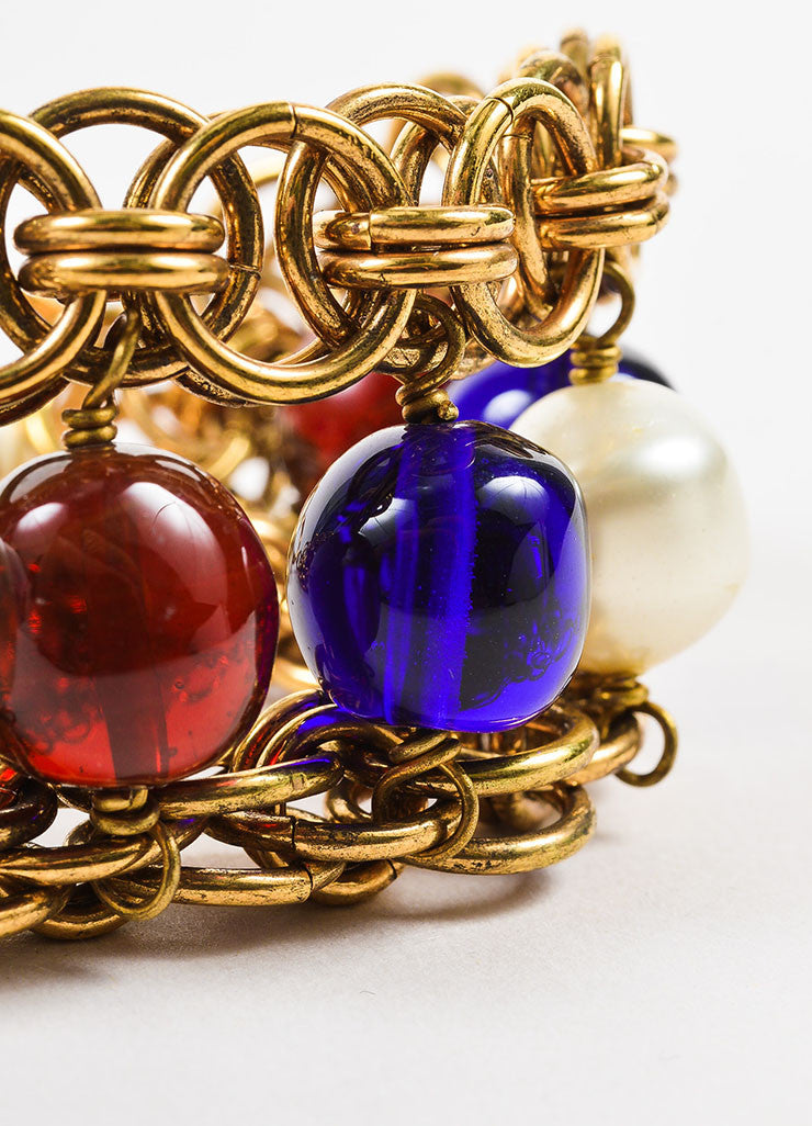 Chanel Gold Toned, Blue, and Red Faux Pearl Beaded Layered Chain Link Bracelet Detail