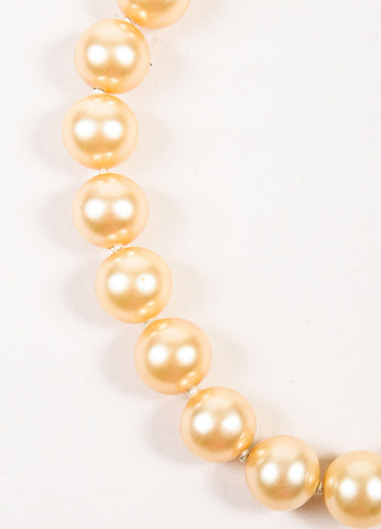 Chanel Gold Toned Plated Metal and Faux Pearl 'CC' Rope Detail Necklace Detail