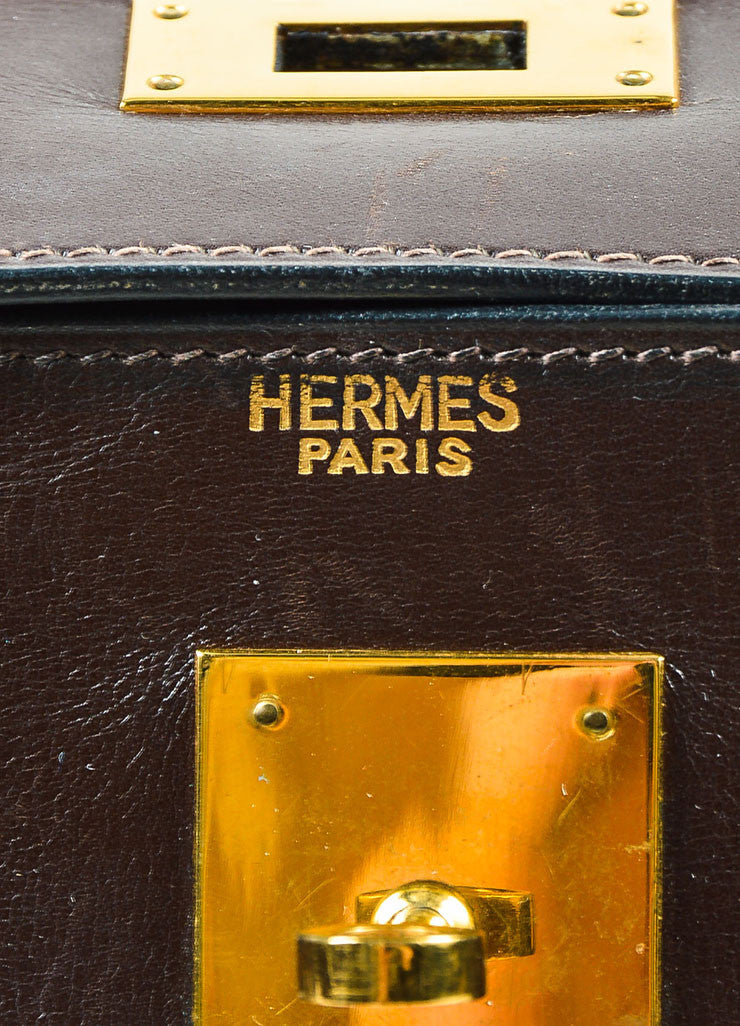 "Hermes Brown and Beige Toile Canvas and Leather ""Kelly"" Bag"