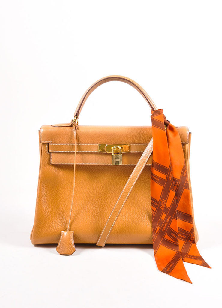 "Hermes Camel and Gold Toned Clemence Leather ""Kelly 32cm"" Handbag and Scarf Frontview"