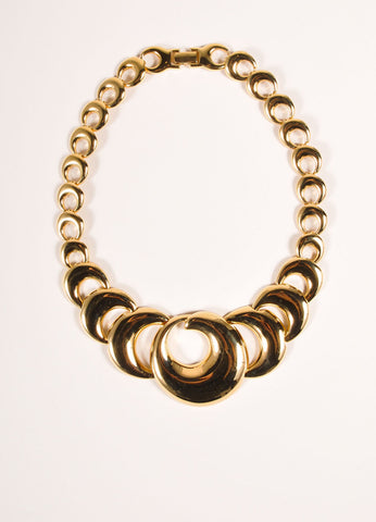 Napier Gold Toned Circle Link Short Necklace Frontveiw