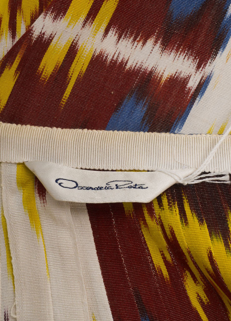 Vintage Oscar De La Renta Red, Yellow, And Blue Ikat Print A Line Skirt Tag
