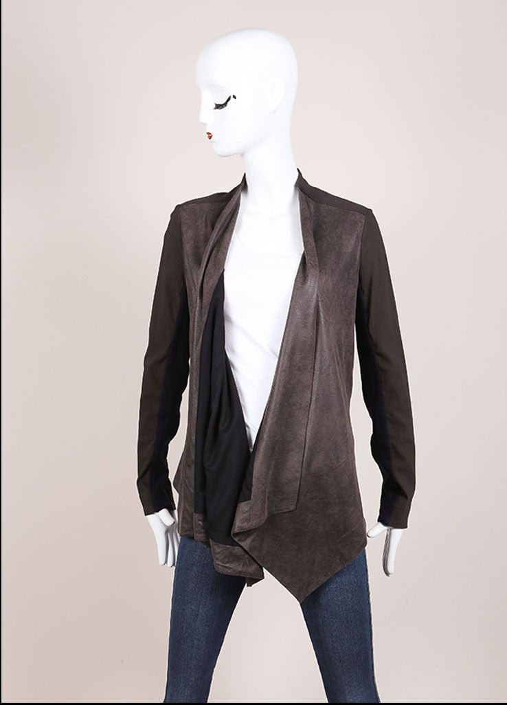 VPL Black and Grey Suede Panel Draped Jacket Frontview