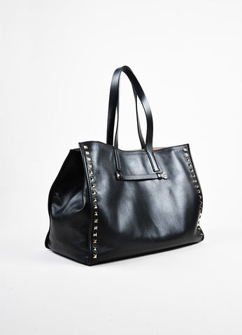"Black Valentino Leather Pyramid Stud ""Rockstud Soft Tote"" Bag Sideview"