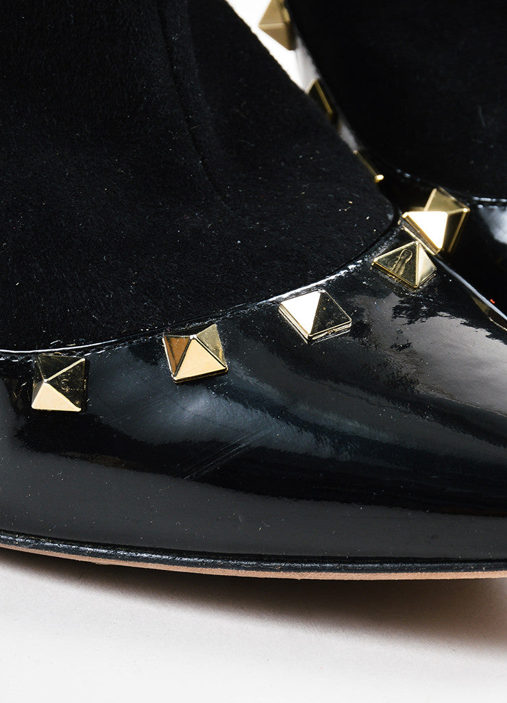 "•ÈÀValentino Black Suede Patent Leather Gold Toned ""Rockstud"" Ankle Boots Detail"