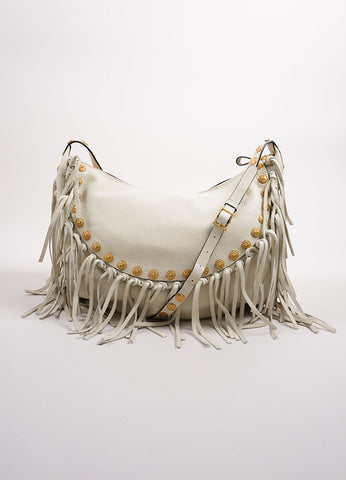 Valentino White Leather Fringe Medallion Hobo Shoulder Bag Frontview