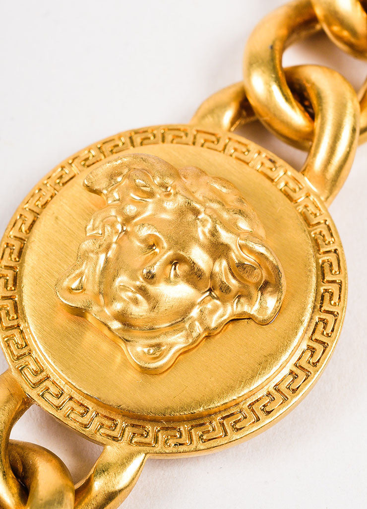 Versace Gold Toned Medusa Medallion Chain Necklace Detail 2