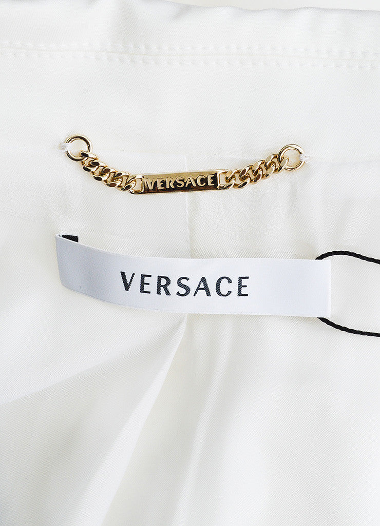 Versace White Cotton Gold Toned Hook and Eye Detail Zip Up Blazer Jacket Brand