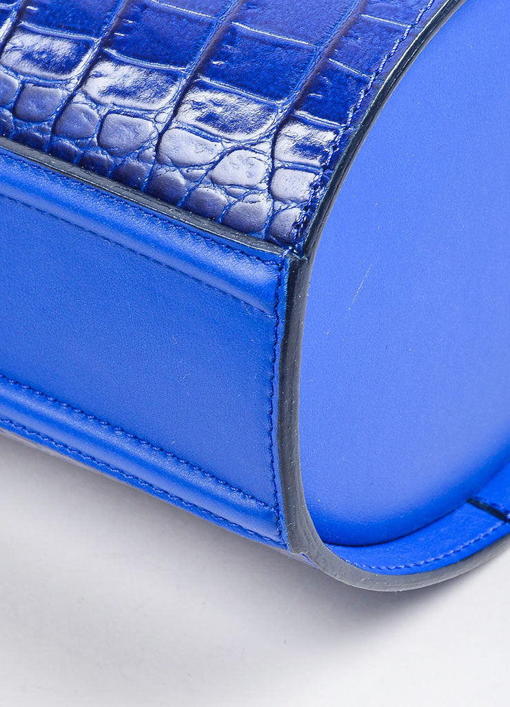 Cobalt Blue Victoria Beckham Croc Embossed Bucket Bag Detail 2