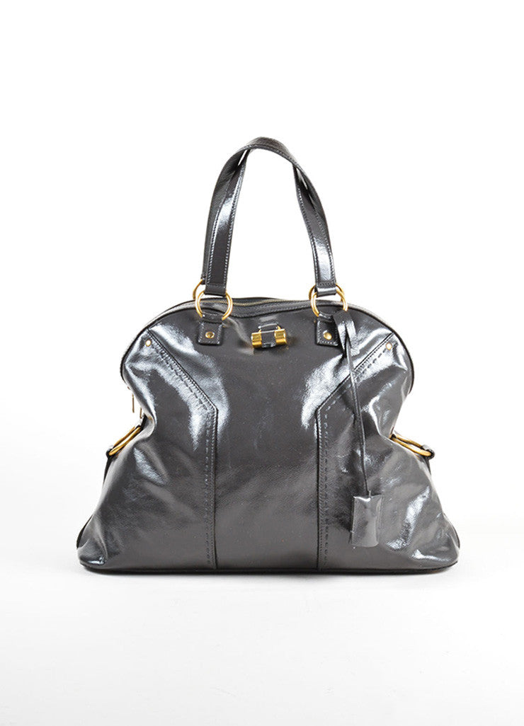 "Yves Saint Laurent Grey and Gold Toned Patent Leather ""Muse"" Tote Bag Frontview"