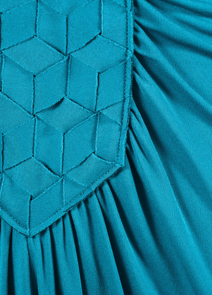 Yves Saint Laurent Teal Viscose Silk Woven Front Floor Length Gown Detail