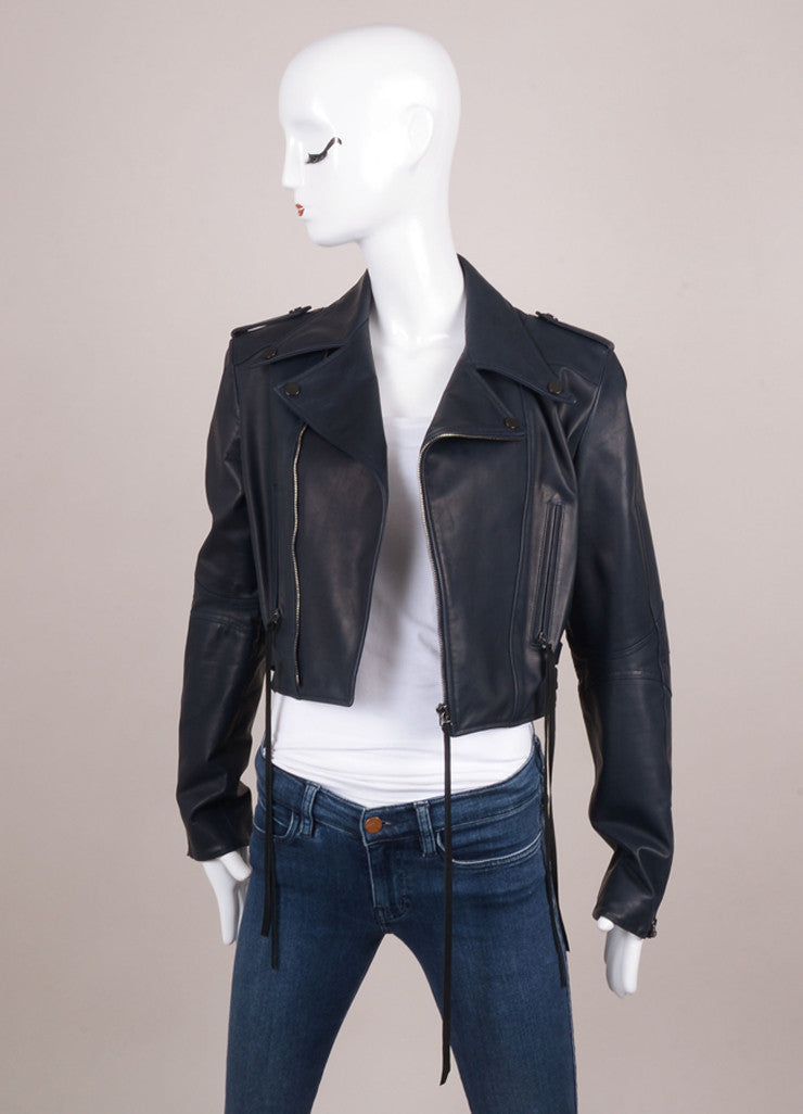 New With Tags Navy Leather Cropped Motorcycle Jacket with Suede Trim