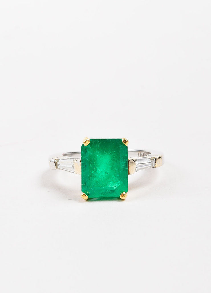 18k White Yellow Gold 2.53 ct Emerald 0.24 ct Baguette Diamond Ring Front 2