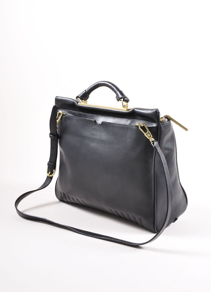 "3.1 Phillip Lim Black Paneled ""Ryder"" Satchel Bag Backview"
