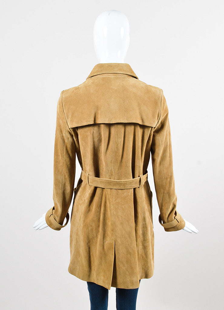 A.P.C. Tan Suede Leather Button Down Belted Long Sleeve Trench Coat backview