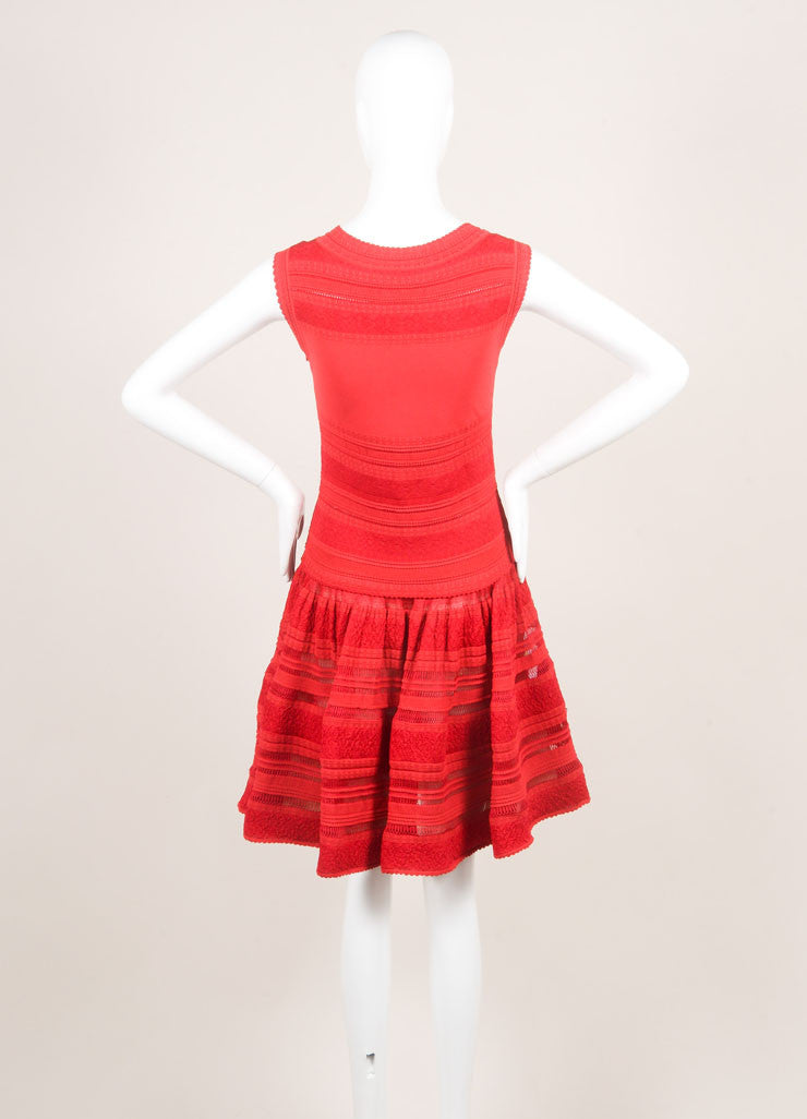 Alaia Red Silk Stretch Knit Sleeveless Flounce Flared Dress Backview