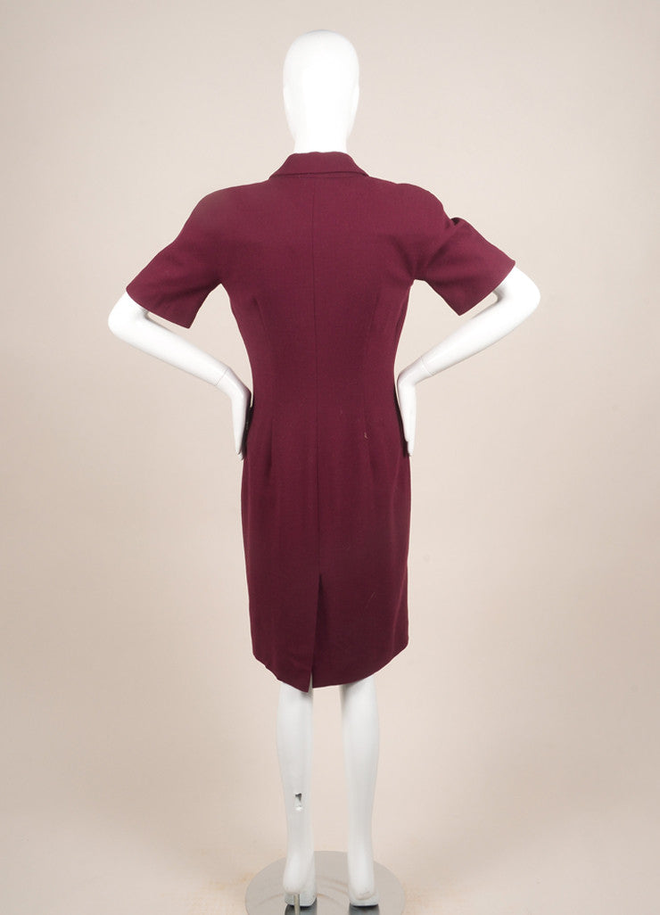 Alexander McQueen Maroon Wool Zip Up Short Sleeve Sheath Dress Backview