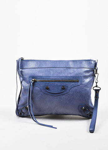 "Periwinkle Blue Balenciaga Distressed Leather ""Agneau RH"" Flat Clutch Bag Frontview"