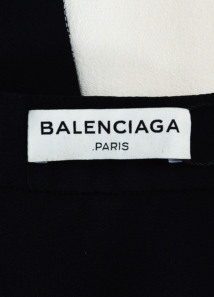 Balenciaga Cream and Black Crepe Color Block Short Sleeve Dress Brand