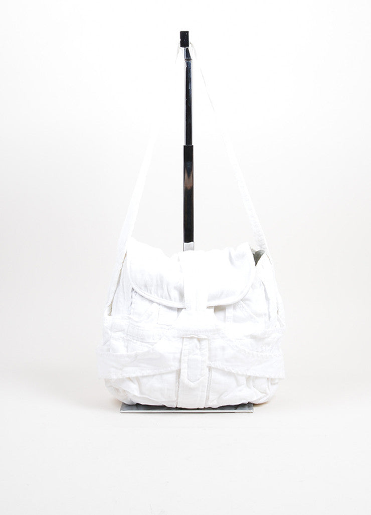 "White Corduroy Balenciaga ""Matrix"" Hobo Bag Front"
