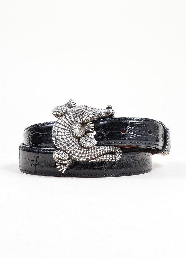 Barry Kieselstein-Cord Brown and Black Interchangeable Strap Alligator Buckle Belt Frontview