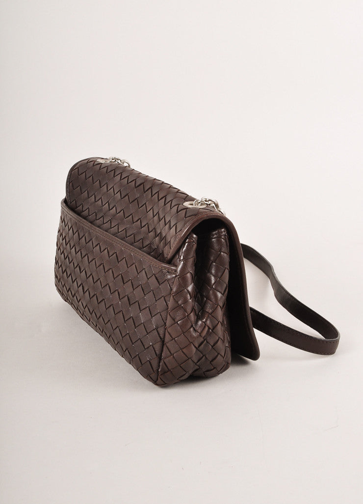 Bottega Veneta Brown Leather Silver Toned Chain Link Woven Small Shoulder Bag Sideview