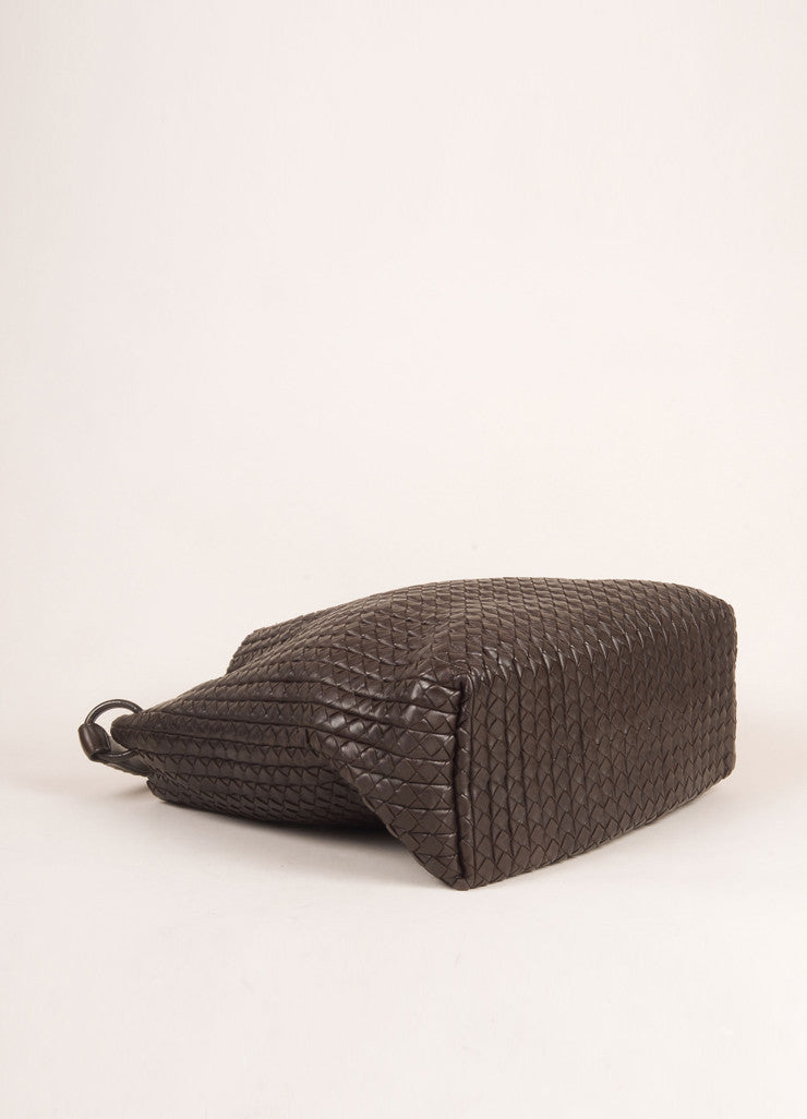 Bottega Veneta Brown Leather Woven Intrecciato Tote Bag Bottom View