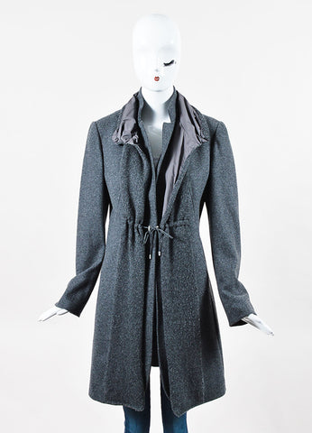 Brunello Cucinelli Grey Wool Cashmere Drawstring Layered Coat Front