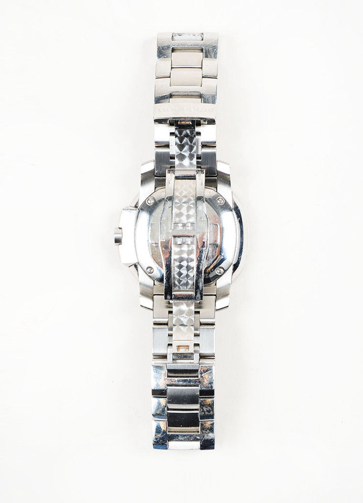 Stainless Steel Burberry Diamond Mother of Pearl Watch Back