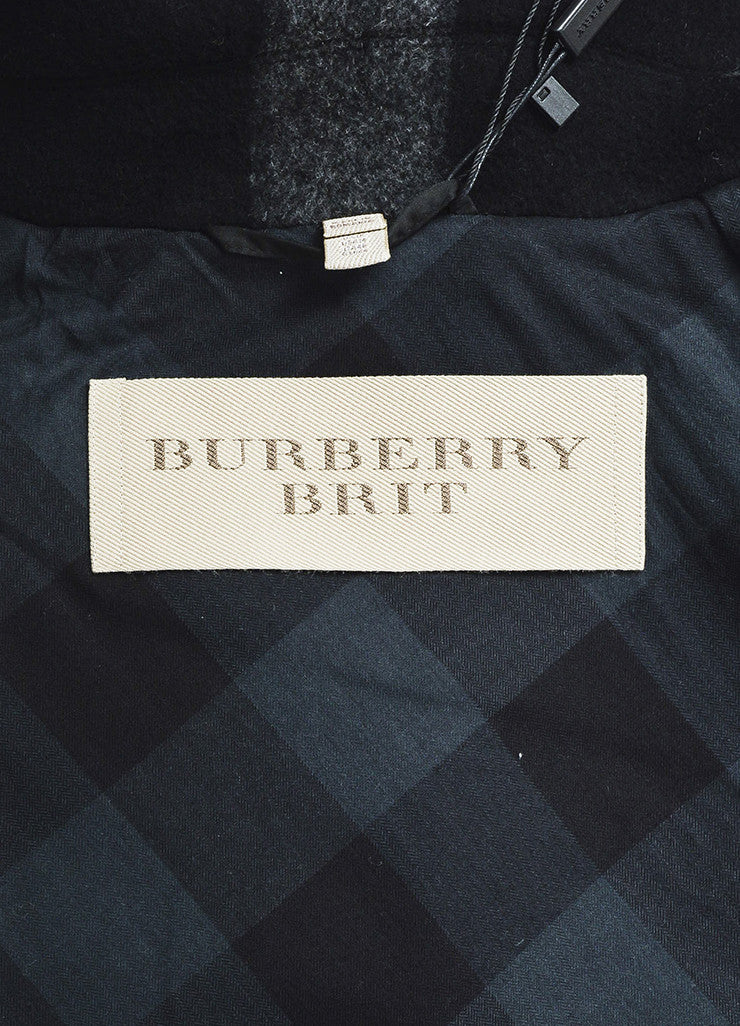 Grey and Black Burberry Brit Wool Plaid Double Breasted Pea Coat Brand