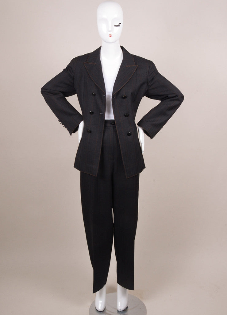 Chanel Charcoal Grey Wool Plaid Double Breasted Jacket Pants Suit Frontview