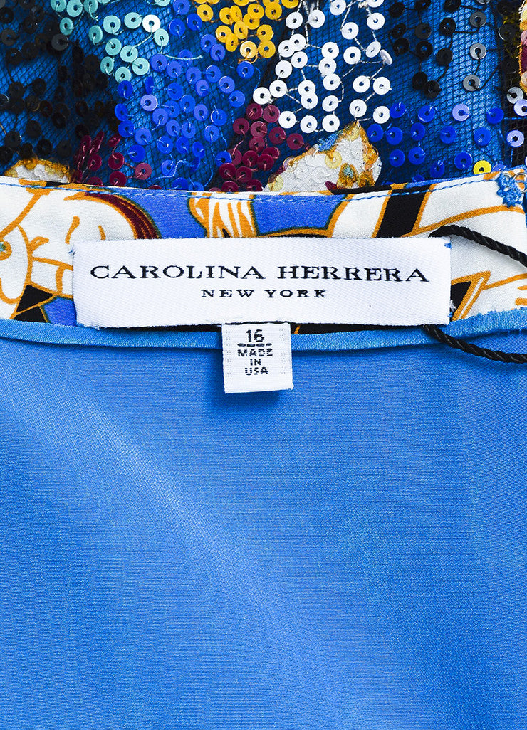 Carolina Herrera Multicolor Silk Dancer Print Sequin Sleeveless Dress Brand