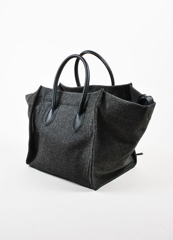 "Celine Grey and Black Felt and Leather Winged ""Medium Phantom Luggage"" Tote Bag Sideview"