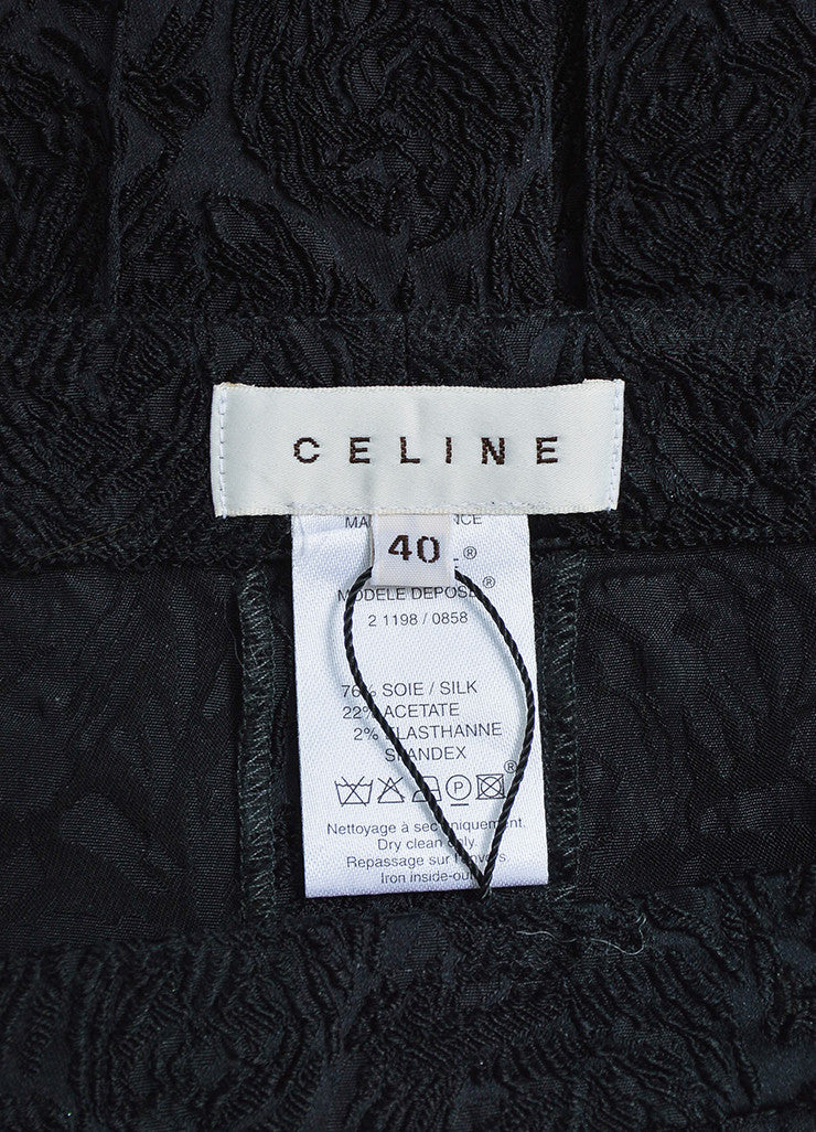 Black Celine Silk Embroidered Texture Cropped Tapered Trousers Brand