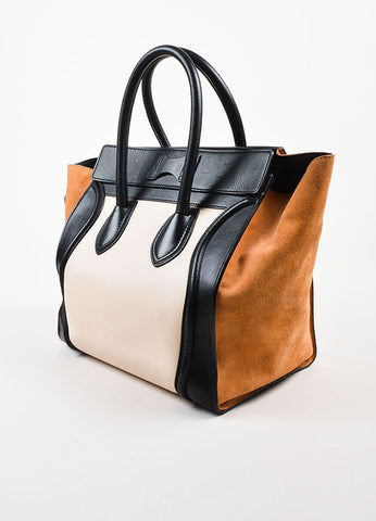 "Celine Black, Tan, and Beige Leather and Suede Winged ""Mini Luggage Tote"" Handbag Sideview"