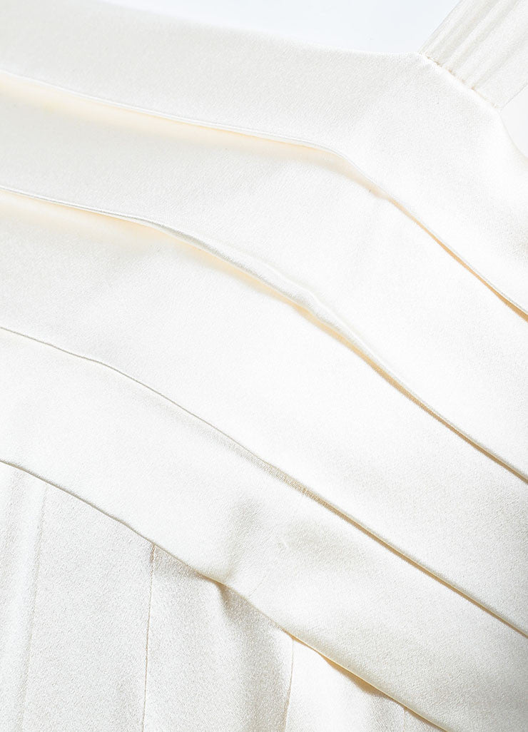 Chanel Cream Silk Spaghetti Strap Pleated Faux Pearl Detail Dress Detail