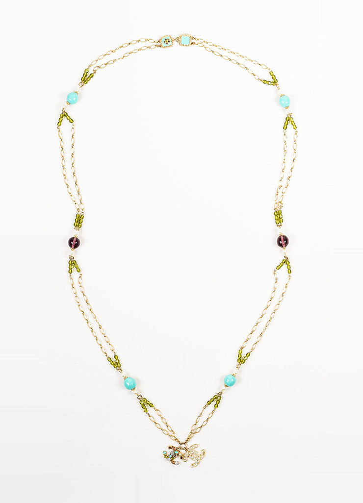 Gold Toned, Turquoise, and Purple Beaded Chanel 'CC' Pendant Chain Belt Necklace Frontview